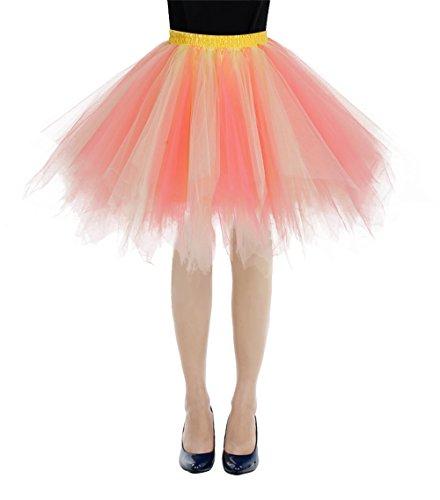 bbonlinedress Kurz Retro Petticoat Rock Ballett Blase 50er Tutu Unterrock Coral-Champagne L
