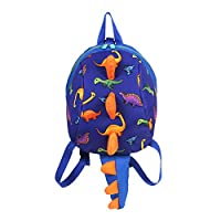 PROKTH Cute Dinosaur Backpacks Safety Harness Cartoon Backpack Anti-Lost Preschool Kindergarten Backpack Children School Bags Outdoor Travel Bags (Blue B)