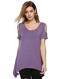 Zearo Mode Damen Shirt Schulterfrei Sexy Freizeit Rundhals Ausschnitt Kurz Ärmel unregelmäßiges T-Shirt Tops