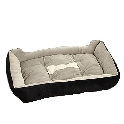 Hiver Chaud Animal Nid Niche Noir Labrador Chien Matelas Confort Canin Litière pour Chat , Black , M