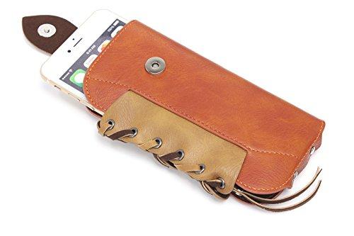 iPhone 6S Plus Holster, vertikalen Hochwertigen glatten Leder Holster Gürtelclip Tasche, der Tasche mit Kartenfach für iPhone 6Plus Galaxy Note 543S6Edge LG G4/G3+ Gratis Schlüsselanhänger orange
