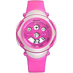 Sport LED Luminous Alarm Digital Watch Waterproof Pvc Strap Quartz Children Wrist Watch,Purple