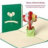 Geburtstagskarte Motiv Geburtstagsballons mit Umschlag, Gutschein, Glückwunschkarte, Grußkarte, Geschenkkarte, Einladung Kindergeburtstag, lustig, klassisch, hochwertig, edel, modern G15