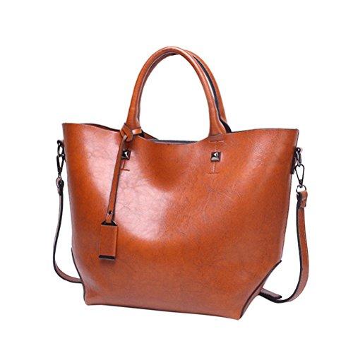 tianranrt Fashion Frauen PU Leder Handtasche Crossbody Bag Umhängetasche, Tasche, große Kapazität braun 40cm(L)*13cm(W)*28cm(H) (Double Reißverschluss Umhängetasche Top)