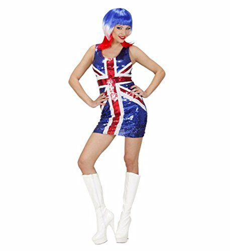 Kostüm Jack Union Kleid - WIDMANN Kostüm Karneval Damen Minikleid Miss UK Union Jack Kleid Pailletten * 19996, Mehrfarbig S