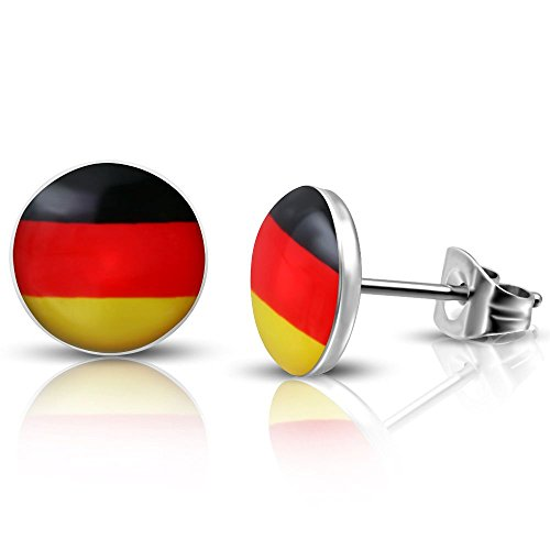 Bungsa DEUTSCHLAND Flagge Ohrstecker 10mm - 1 Paar Edelstahl (Ohrringe Ohrschmuck Ohrklemmen Damen Frauen Herren Germany Fussball EM WM Schland Mode Studs Earrings)