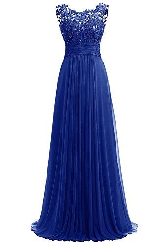 Carnivalprom Damen Chiffon Abendkleider Lange Elegant Hochzeitskleid Spitze Cocktailkleider(Königsblau,34)