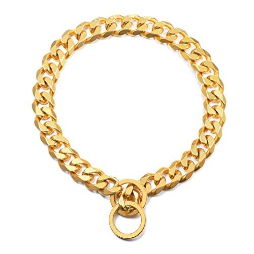 PROSTEEL Hundehalsband Starke Edelstahl Kette 15MM Gold Farbe KragenPanzerkette Trainings Kragen Halskette für Hund Haustier Hals Seil, Länge 46cm