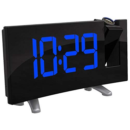 kailifly Digitaler Wecker Wanduhr Analog Alarm Wanduhr USB-Ladekabel 180 Grad Tischwand FM Radio-Wecker Digital Projektion Snooze Anzeige LED Zeit blau