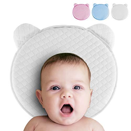 Rovtop Babykopfkissen Orthopädisches Plattkopf Babykissen mit drei wechselbare Kissenbezüge(Blau Rosa Weiß) Babykissen aus weicher Memory-Schaumstoff besteht (geeignet für 0 bis 12 Monate Baby)
