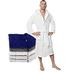 Zizzi  Twinzen Bademantel 100% Baumwolle Kapuze für Herren Oeko TEX Zertifiziert - Morgenmantel 2 Taschen, Gürtel und Schlaufe zum Aufhängen, 46 / 82 cm, Blau