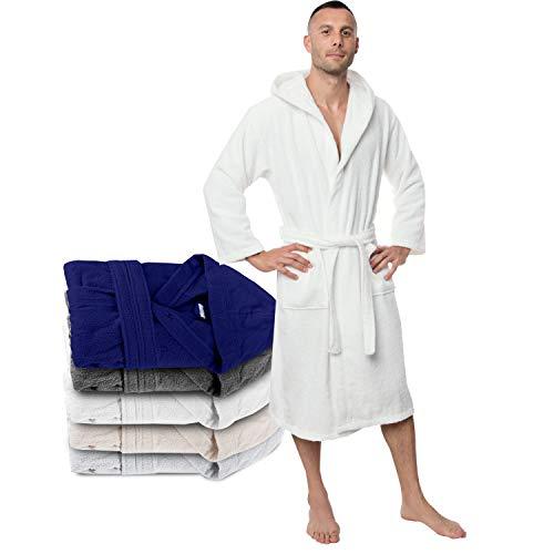 Bademantel 100% Baumwolle Kapuze für Herren (XXL, Alabasterweiß) Oeko TEX Zertifiziert - Morgenmantel 2 Taschen, Gürtel und Schlaufe zum Aufhängen - Weich, Saugfähig und Bequem