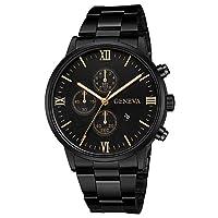 Darringls_Reloj 657 Geneva,Reloj de Acero Inoxidable Negro Clásico de Lujo Calendario de Moda Clásico Diseñador Analógico Cuarzo Fecha de Negocios