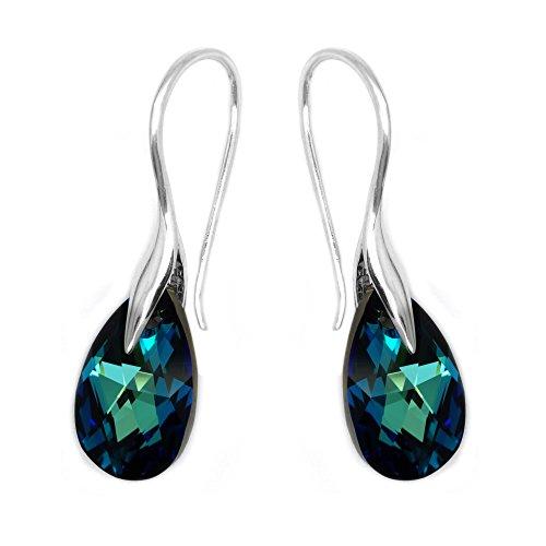Royal Crystals - Orecchini a goccia in argento Sterling con cristalli Swarovski, colore: blu elettrico
