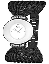 Tycos Crystal Studded White Dial With Black Chain Analog Watch