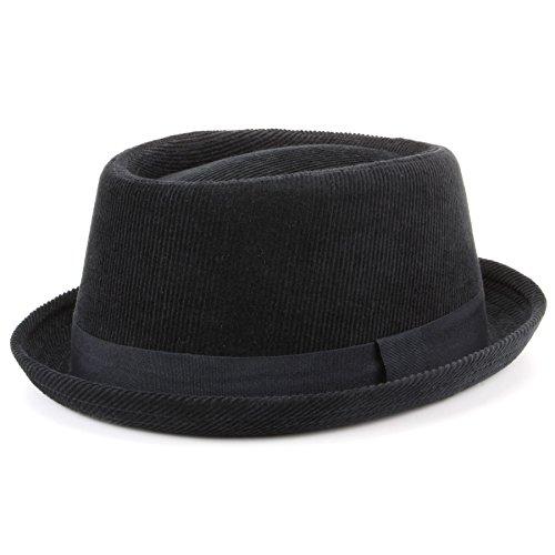 Hawkins cordurory Pork Pie Sombrero con cinta de grogrén – negro negro negro  57 cm 1e158d3fce7