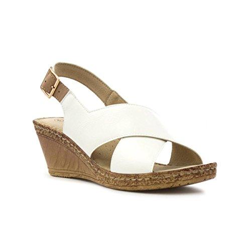 Cushion Walk Womens White Cross Strap Wedge Sandal - Size 7 UK...