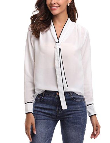 Abollria Damen Bluse Elegant Business Chiffon Blusen Langarm Tunika Blouse V Ausschnitt Kragen mit Schleife