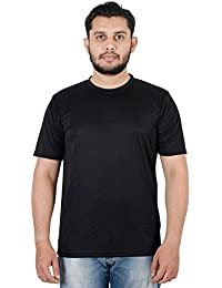 Spruce Up Round Neck Black Color Half Sleeve Polyester T Shirt