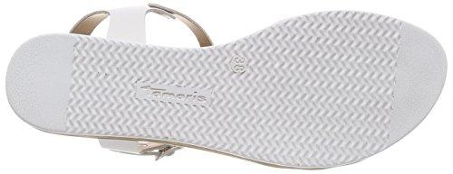 Tamaris Damen 28605 T-Spangen Sandalen Weiß (White Comb)