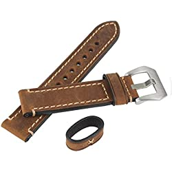 WEONE Brown Genuine Leather Watchband Wristwatch Watch Band Oil Tan with Stainless Buckle