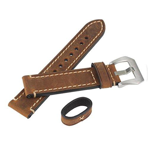 WEONE Marrón 22mm de cuero genuino reloj de reloj de la venda de la correa de la venda de la puntada con la hebilla de acero inoxidable