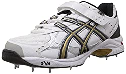 ASICS Mens GEL-SPEED MENACE LO LF FOOT White, Black and Gold Mesh Cricket Shoes - 9 UK