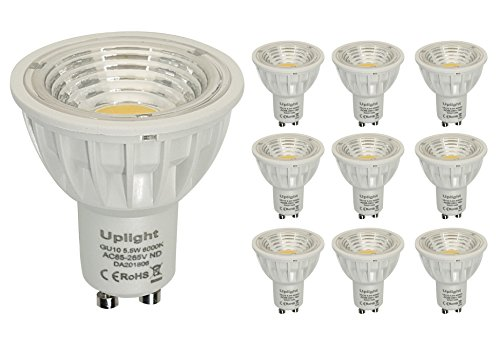 GU10 LED Lampen Ersetzt 50W-60W Halogen Lampen,Nicht Dimmbar Ra90 Gu10 5.5W LED-Glühbirne,Einbauleuchten,6000K Kalt Weiss,550LM 90°Abstrahlwinkel 10er Pack.