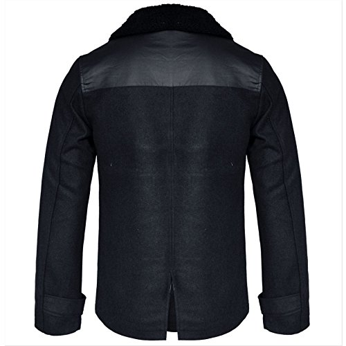 Männer Smart Slim Fit Borg Winter graben Double Breasted wolle Mantel Jacke S M L XL Marine