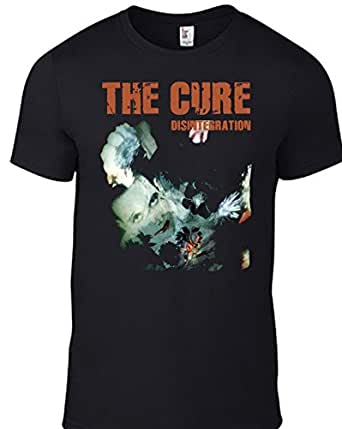 The cure disintegration t shirt with cd logo all sizes mens unisex band tee in black amazon for The garden band merch