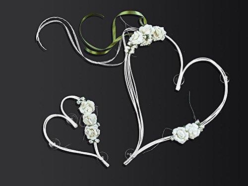 Preisvergleich Produktbild Autoschmuck Hochzeit Rattanherz mit Blumen (creme/weiß)