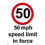 TR055 Traffic Sign 50 MPH SPEED LIMIT IN FORCE Signs 200mm x 300mm 3MM STANDARD FOAMEX FOAMBOARD