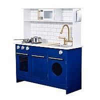 Teamson Kids TD-12681B Berlin Play Kitchen, White/Blue