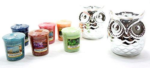 Yankee Candle Votivkerzenhalter, Keramik, Eulenform, mit 6 verschiedenen Mustern, 2 Stück