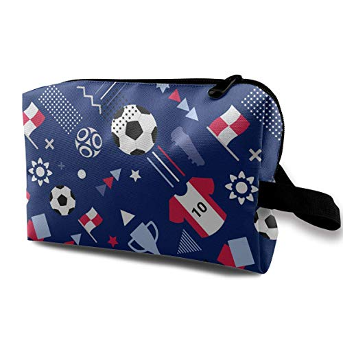 Soccer World Cup Pattern Background Small Travel Toiletry Bag Super Light Toiletry Organizer for Overnight Trip Bag -