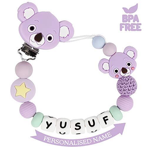 Schnullerkette mit Namen Junge Mädchen Schnuller Clip Personalisierte Schnuller Dummy Clips Silikon Perlen Koala Beißring BPA Frei für Babys (Lila)