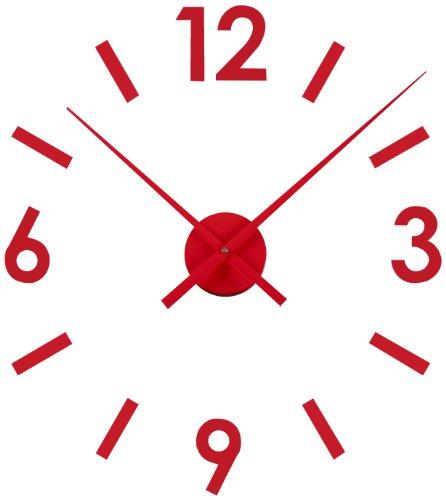 Versa 16660122 - Reloj pegatina de pared, de plástico, color rojo