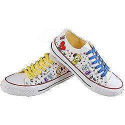 BTS Bangtan Boys BT21 line amigos Low Tops zapatos JUNG KOOK JIMIN V Suga mujeres casual zapatos zapatillas mujer zapatos mujeres,36