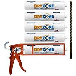 Dryzone Damp Proofing Kit 5 x 310 ml, colore: crema a iniezione + pistola per mastice + punta per trapano Dryzone