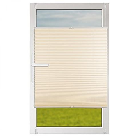 Klemmfix Plissee Jalousie mit Klemmträger :: Rollos für Fenster ohne bohren 90x130 cm beige