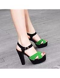 pwne Tacones mujer Primavera Club zapatos casual PU Negro Blanco verde oscuro verde oscuro US7.5 / UE38 / UK5.5 / CN38
