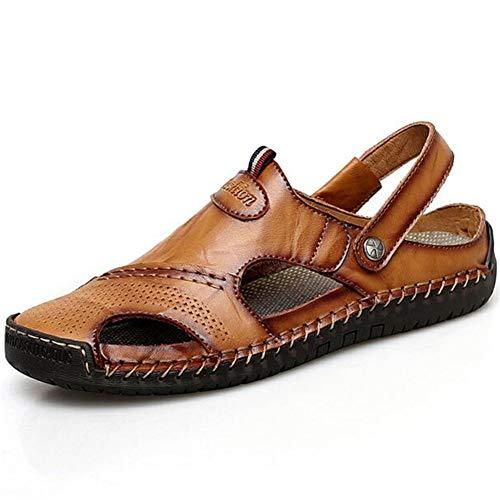 Hombres Sandalias Cuero Puntera Cerrada Zapatos Verano