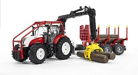 Bruder - 3093 - Véhicule Miniature - Tracteur Forestier Steyr Cvt 6230 avec Remorque Forestière et Rondins de Bois Inclus