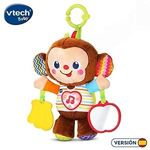 VTech - Monito bebé, Peluche sonajero con un mordedor en Forma de plátano y botón de corazón Que Activa más de 50 Frases, Canciones, Sonidos y melodías, Espejo de Seguridad, Anilla para Carrito