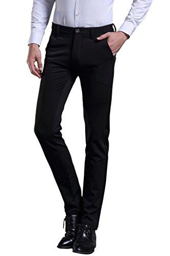 Herren Anzug Hose Slim fit Straight Leg Business Hose Pants von Harrms,Schwarz,27