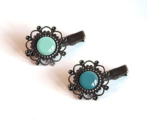 2 Haarspangen, Cabochon 12 mm, Blautöne, Entenblau, Pastellblau