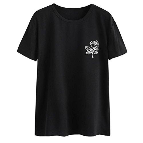 TIFIY Dame Beiläufig Kurzarm O-Neck Babe Brief Partterned Bluse Oberteile T-Shirt