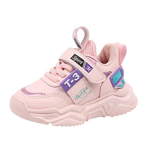 Rokoy Sneakers Bambini/Stivaletti per Ragazza - Scarpe per Correre Running Corsa Sportive Trail Trekking Scarponi Fitness Casual Elastiche Stivali -Scarpe da Ginnastica Unisex(27,Rosa)