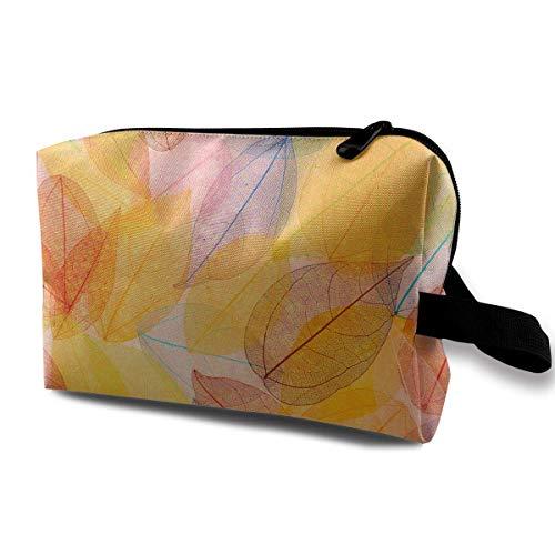 Travel Makeup Cosmetic Bag Brush Pouch Autumn Orange-yellow Leaves Zipper Pen Organizer Carry Case black makeup bag