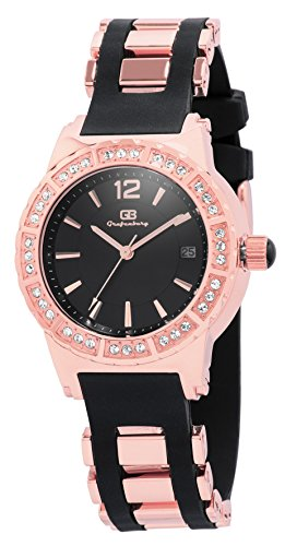 Grafenberg-Womens-Quartz-Watch-with-Black-Dial-Analogue-Display-and-Black-Silicone-Bracelet-GB208-327
